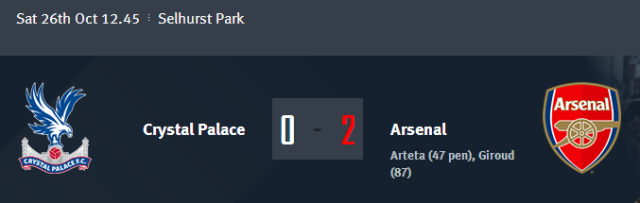 Crystal Palace vs Arsenal