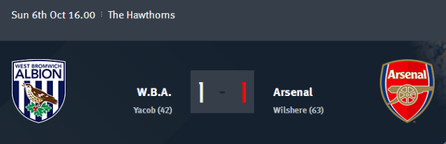 W.B.A. vs Arsenal