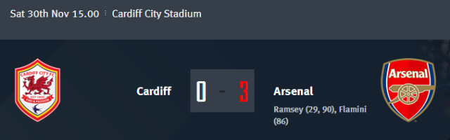 Cardiff vs Arsenal