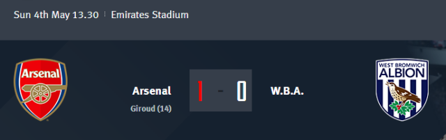 Arsenal vs W.B.A.
