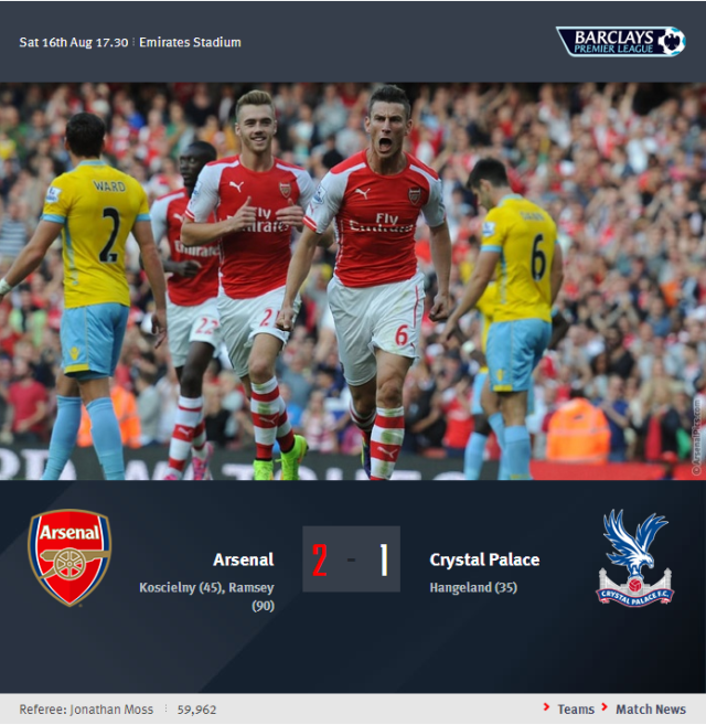 Premier League - Arsenal vs Crystal Palace