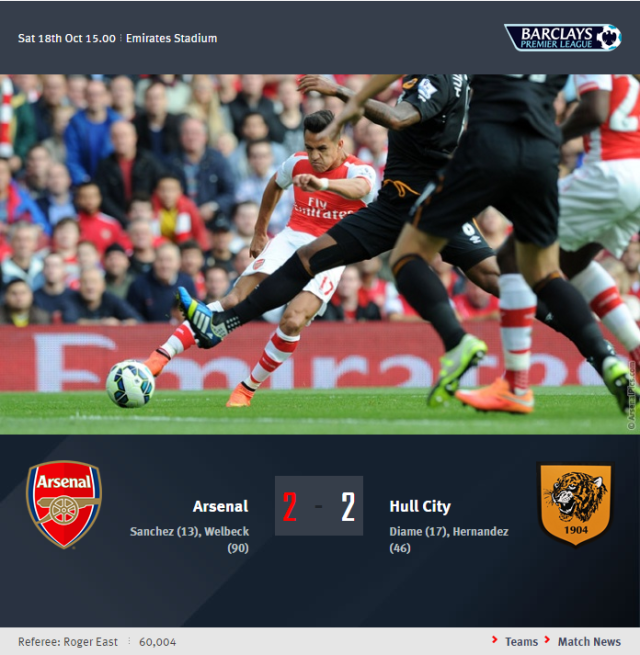 Premier League - Arsenal vs Hull City