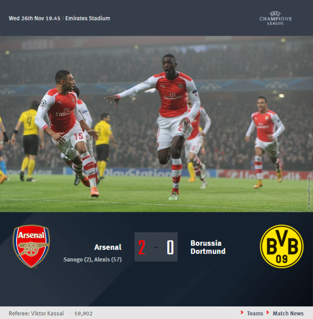 UEFA Champions League - Arsenal vs Borussia Dortmund
