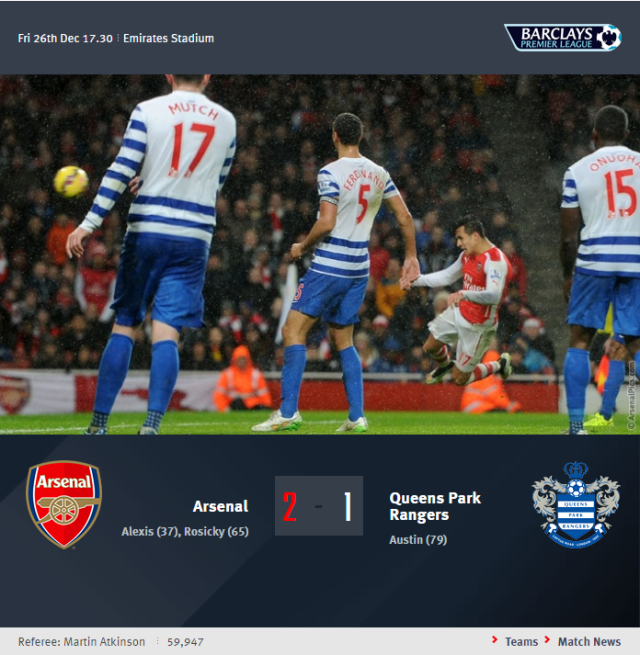 Premier League - Arsenal vs Queens Park Rangers