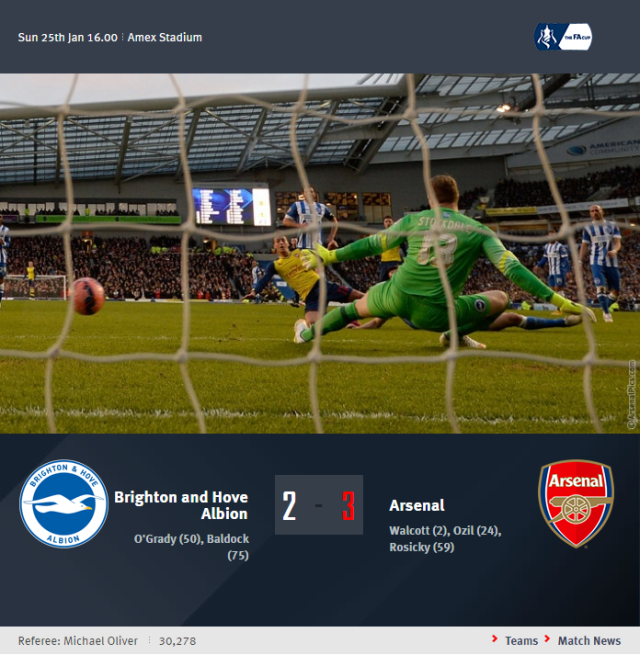 FA Cup - Brighton and Hove Albion vs Arsenal