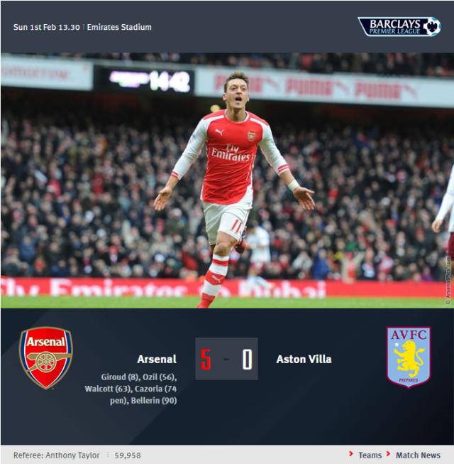 Premier League - Arsenal vs Aston Villa