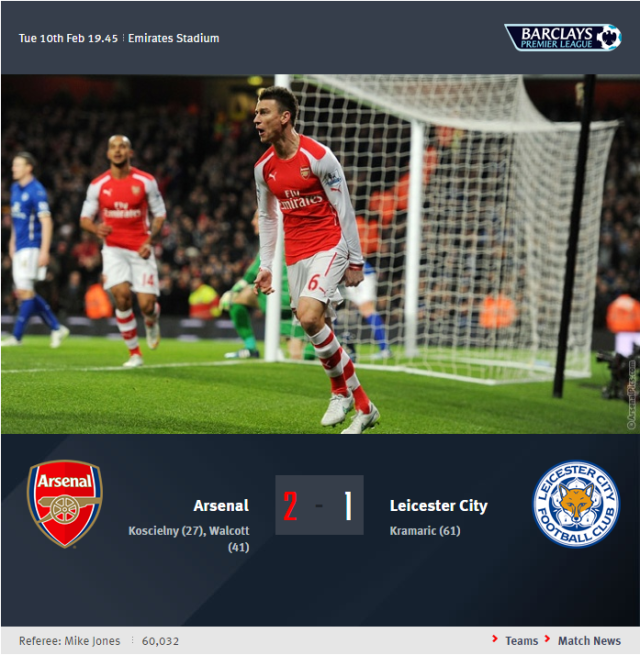 Premier League - Arsenal vs Leicester City