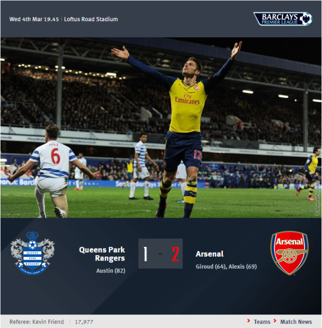 Premier League - Queens Park Rangers vs Arsenal