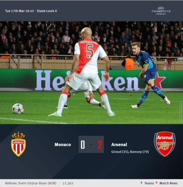 UEFA Champions Leage - Monaco vs Arsenal