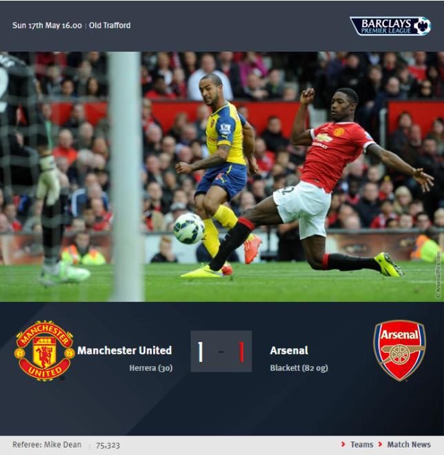 Premier League - Manchester United vs Arsenal